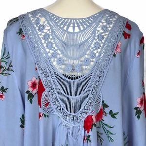 Tops - Blue Floral Kimono